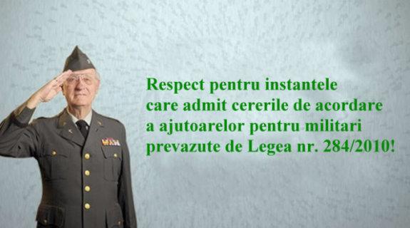 Tribunalul Vâlcea recunoaște dreptul militarilor la plata ajutoarelor prevăzute de Legea nr. 284/2010